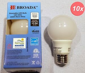 10x LED Dimmable 7w 2 1 2 inch Globe type Bulbs A19 2 1 2 in Warm White E26