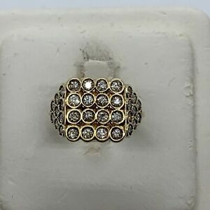 14k yellow gold diamond ring geometric square round designer flashing lights