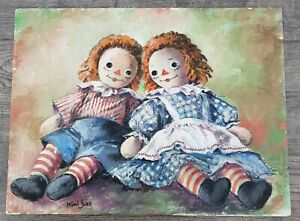RAGGEDY ANN and ANDY Original Painting Art Signed late acclaimed Mimi Jobe $300.00