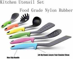 Kitchen 6 Piece Non-stick Utensil Set Cooking Tools w/ Elevated Handles BPA Free