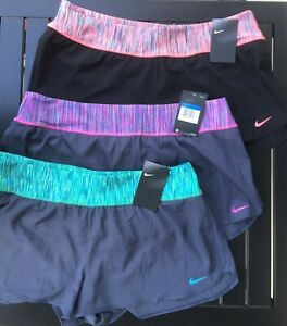 NWT $58 Women's NIKE CREW Wide Waistband RUNNING Built In Brief SHORTS XL Colors $18.97