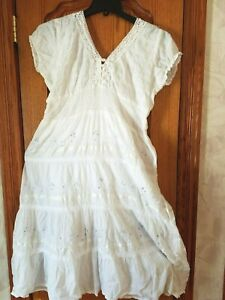 Women summer beach white dresses with crochet lace and embroidery Free Sz
