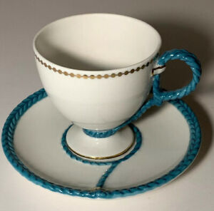 Anthropologie Tea Cup & Saucer White Teal Gold Braided Rope Detail