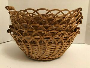 """Set of 11 Woven Wood Bread Baskets 12""""D x 4.5""""H Gift Home Decor Storage"""