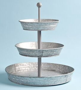 3 Tier Rustic Kitchen Stand Galvanized Metal Kitchen Tray with Farmhouse Style