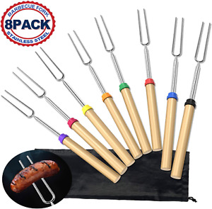 8pc BBQ Barbecue Forks Marshmallow Roasting Sticks Telescoping Skewers 32 Inch