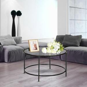Modern Glass Coffee Table Round Black Leg Home Office Living Room Furniture $44.99