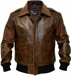 Men A 2 Aviator Flight Bomber Distressed Chocolate Brown Genuine Leather Jacket