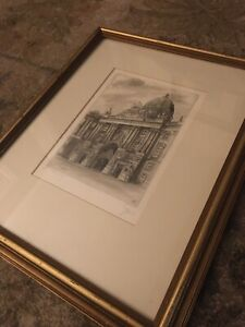 Antique Signed Framed Etching Imperial Palace Vienna Austria Germany Medieval $29.99