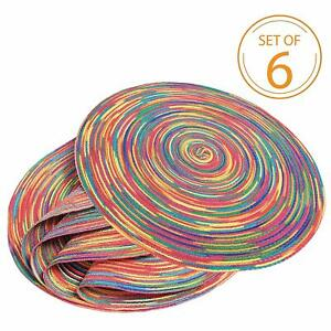Set of 6 Braided Colorful Woven Insulation Pad Round Place Mats Kitchen Table