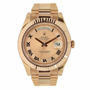 Rolex Day-Date II Rose Gold Pink Roman Dial President 41MM Watch 218235