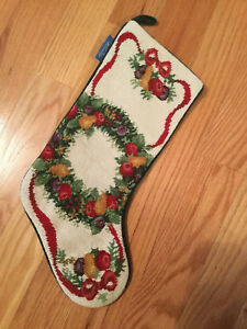 Christmas stocking, wreath needle pointed on the ivory, green on the back, new