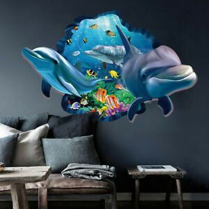 3D Ocean World Dolphin Removable Wall Stickers Vinyl Art Kids Room Decor Decal