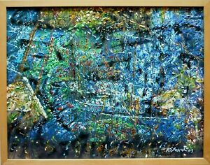 RANDY SUSICK #x27;03 Mixed Media Abstract Oil Painting $195.00