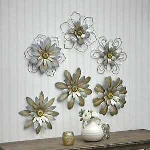 Rustic Galvanized Metal Hanging Wall Flowers Floral Indoor Accents Set of 3
