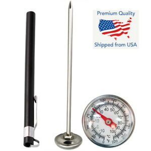 Stainless Steel Pocket Probe Thermometer Gauge for Food Cooking Meat BBQ Black
