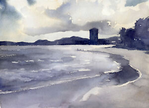 ORIGINAL OCEAN SEASCAPE PAINTING WATERCOLOR AND WAX 9 X 12 INCHES $35.00
