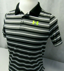 Under Armour Heatgear Loose Striped Performance Athletic Polo Shirt Youth XL $14.99