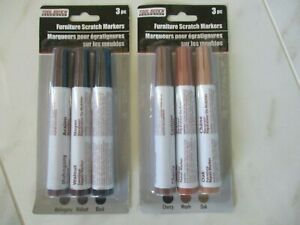 2x FURNITURE SCRATCH MARKERS, 3 PCS EACH, SIX DIFFERENT COLORS, TOOL BENCH