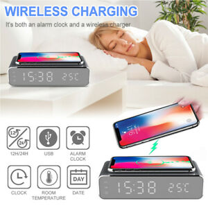 USB Digital LED Desk Alarm Clock Thermometer Wireless Charger Qi Charging 2021