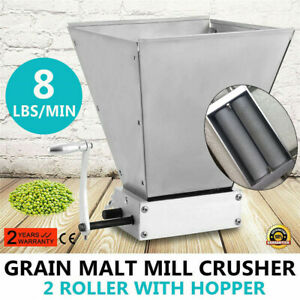 Manual Malt Mill Crusher Barley Grain Grinder W/2 Rollers fr Home Brew Beer Mill