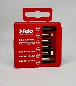 Felo 31410 Profi Slotted Bit 6 Piece Box Set Made In Germany Lifetime Warranty