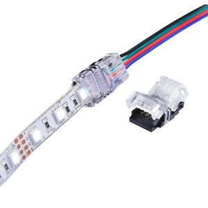 Solderless Clip-on Coupler Connector Adapter 4 Pin RGB For 5050 LED Strip Light