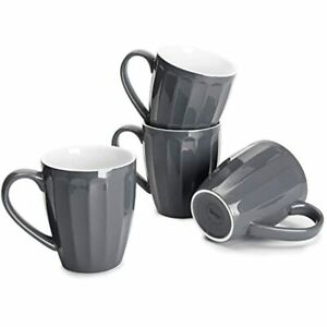 602.113 Porcelain Fluted Mugs - 14 Ounce Coffee Cup Set For Coffee, Tea, Cocoa,