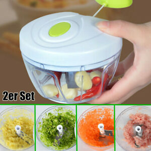Manual Pull Food Chopper Slicer Peeler Dicer Vegetable Onion Garlic Cutter US