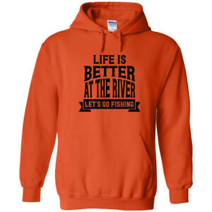 Life Is Better At The River Black Logo Hoodie Send Me Fishing Pole Waders Fish