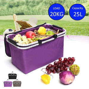 25L Portable Lunch Cooler Bag Insulated Basket Picnic Food CarryTote Box Case