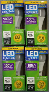 4 LED 14W (100W) 3000K Soft White 1500 Lumen Indoor Outdoor 22 Yr Light Bulb NEW