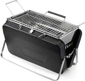 Portable Charcoal Grill Table Top Stainless Steel Folding Barbecue Grill, Black