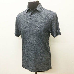 UNDER ARMOUR GOLF MEN'S ELEVATED HEATHER POLO SHIRT BLACK WHITE LARGE L 18379 $27.94