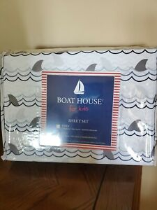 Kids Full Sheet Set Sharks Boat House Wave Gray Blue Flat Fitted Pillowcases New