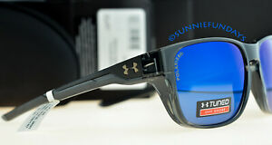 UNDER ARMOUR PULSE POLARIZED Gloss Crystal Smoke w Offshore Tuned BLUE Lenses $65.00