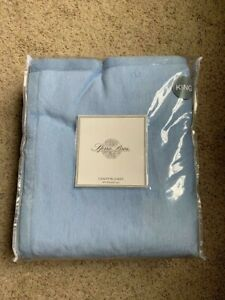 NWT SFERRA KING Chalet Blanket Soft Plush 100% Brushed Cotton Blue - Limited!
