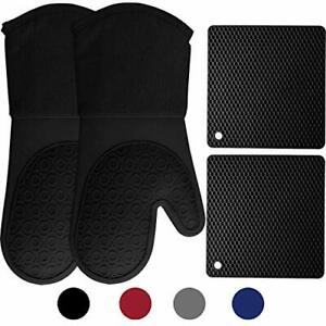 HOMWE Silicone Oven Mitts and Pot Holders, 4-Piece Set, Heavy Duty Black