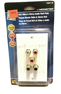 Monster RCA Video amp; Stereo Audio Wall Plate Plaque $16.49