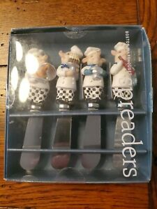 Set of 4  PIG CHEFS Handle Butter/Cheese Stainless Spreaders ~Boston Warehouse