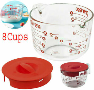 Pyrex Prepware Glass Measuring Cups Cup Set Combo, 8-Cup, Clear