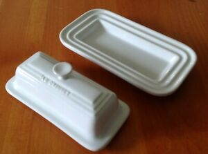 Le Creuset Stoneware White Two Piece Set 1/4 LB Butter Dish Lid and Bottom 10.14