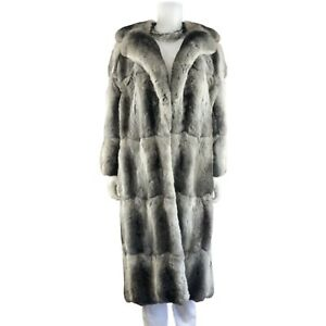 I. MAGNIN CHINCHILLA 100% AUTHENTIC FUR RUNWAY LONG FULL LENGTH COAT • LARGE XL