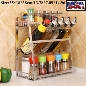 3 Tier Kitchen Spice Rack Stainless Steel Countertop Jar Bottle Shelf Organize