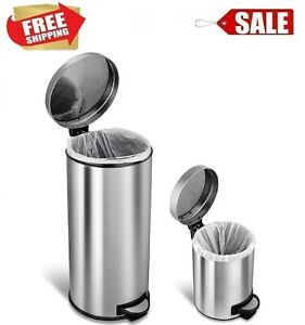Stainless Steel Step On Trash Garbage Can Round Set With Lid Kitchen Bathroom
