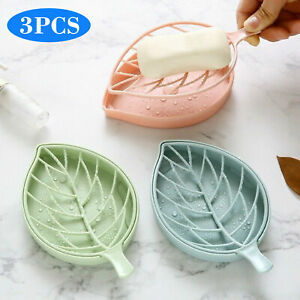3Pcs Soap Dish With Drain Container Soap Saver Bathroom Shower Soap Holder Case