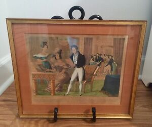 """Antique French Colored Lithograph """"L'Europe"""" Beautiful Antique Frame"""