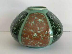 Signed Korean Celadon Bowl with 6 Painted Panels and Incised Flowers