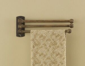 New Primitive Vintage Style Three Prong Wooden Peg Towel Hanger Bar Wall Rack