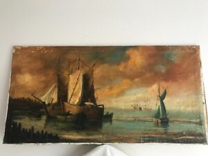 ANTIQUE SIGNED DUTCH OLD MASTER PAINTING SHIPS IN HARBOR NYC VAULT FIND  $550.00